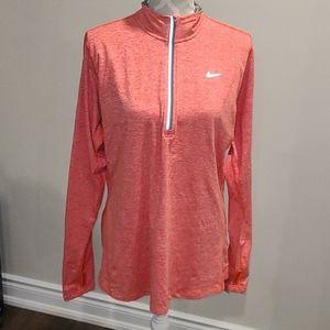 Nike Heathered orange 1/2 zip drift running shirt